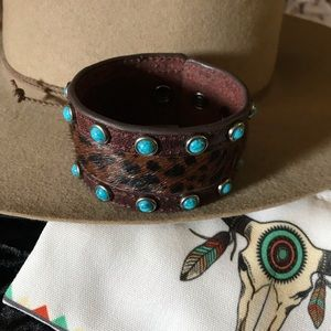 Leather Hair-on Cuff w/ Turquoise Howlite Studs